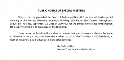 PUBLIC NOTICE OF SPECIAL MEETING: Board of Auditors (September 12, 2019)