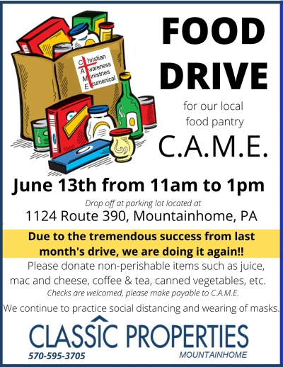 Another Food Drive!! Classic Properties / C.A.M.E.  (June 13, 2020)