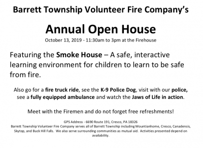 Barrett Township Volunteer Fire Company's Annual Open House (2019)