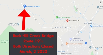 Bridge Closed March 2020: Route 191 (Buck Hill Creek)