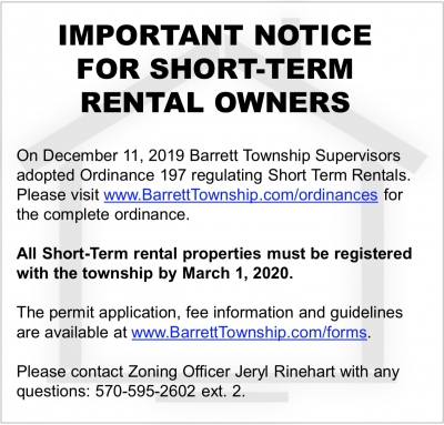 PUBLIC NOTICE - Important notice for Barrett Township Short Term Rental Owners