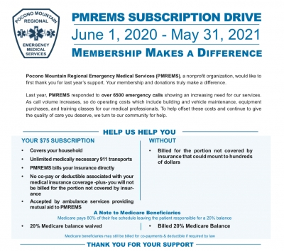 PMREMS Subscription Drive June 1, 2020 - May 31, 2021