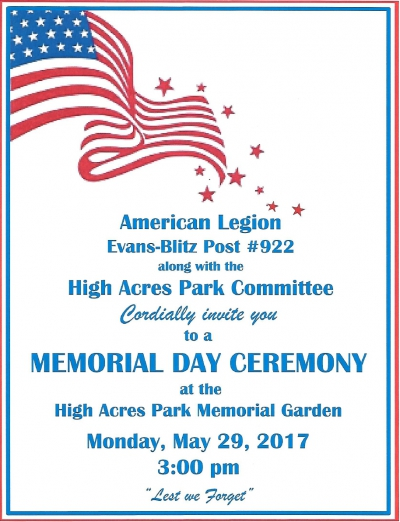 Memorial Day Ceremony 2017 at High Acres Park