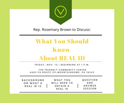 Upcoming REAL ID Presentation Taking Place in Barrett Township (Rosemary Brown)