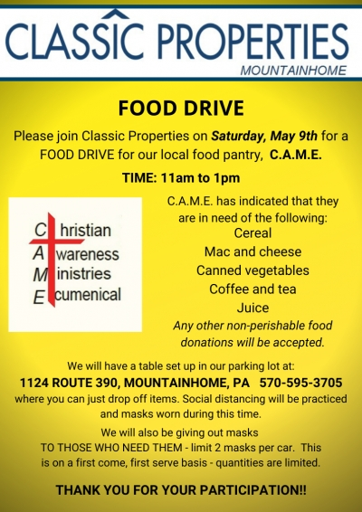 via Classic Properties - Donation Drive For Our Canadensis Food Pantry (May 2020)